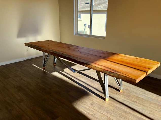 "Ponderosa Pine and steel table 11'8"" x42"" Claekdale,AZ"